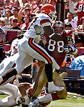 San Francisco 49ers tight end Jed Weaver (88) gets tackled on Sunday, September 21, 2003, in San Francisco, California. The Browns defeated the 49ers 13-12.