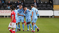 Burnley U23 players congratulate Ali Koiki (No 7) after scoring their opening goal during Charlton Athletic Under-23 vs Burnley Under-23, Professional Development League Football at Princes Park on 9th September 2019