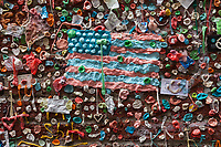 American Flag at The Gum Wall, Pike Place Market, Seattle, WA, USA.