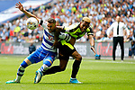 Rajiv van La Parra of Huddersfield Town battles with Chris Gunter of Reading during the SkyBet Championship Play Off Final match at the Wembley Stadium, England. Picture date: May 29th, 2017.Picture credit should read: Matt McNulty/Sportimage