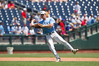 North Carolina Tar Heels infielder Landon Lassiter #12 throws during Game 3 of the 2013 Men's College World Series between the North Carolina State Wolfpack and North Carolina Tar Heels at TD Ameritrade Park on June 16, 2013 in Omaha, Nebraska. The Wolfpack defeated the Tar Heels 8-1. (Brace Hemmelgarn/Four Seam Images)