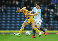 Wigan Athletic's Michael Jacobs under pressure from Blackburn Rovers' Lewis Travis<br /> <br /> Photographer Kevin Barnes/CameraSport<br /> <br /> The EFL Sky Bet Championship - Blackburn Rovers v Wigan Athletic - Tuesday 12th March 2019 - Ewood Park - Blackburn<br /> <br /> World Copyright © 2019 CameraSport. All rights reserved. 43 Linden Ave. Countesthorpe. Leicester. England. LE8 5PG - Tel: +44 (0) 116 277 4147 - admin@camerasport.com - www.camerasport.com