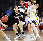 SIOUX FALLS, SD - MARCH 7:  Amber Vidal #5 of Omaha dribbles past South Dakota State defender Madison Guebert #11 in the 2016 Summit League Tournament.(Photo by Dick Carlson/Inertia)