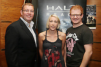 NO REPRO FEE. 14/9/2010. launch of Halo: Reach. Pictured at the Odeon Dublin for the launch of Halo: Reach are Kieran Penwill, Ide O Brien and Steven Cooper. Halo: Reach tells the tragic and heroic story of Noble Team, a group of Spartans, who through great sacrifice and courage, saved countless lives in the face of impossible odds. Picture James Horan/Collins Photos