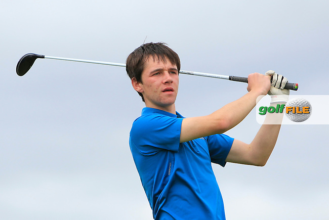 Oisin Fleming (Dun Laoghaire) on the 18th tee during R1 of the 2016 Connacht U18 Boys Open, played at Galway Golf Club, Galway, Galway, Ireland. 05/07/2016. <br /> Picture: Thos Caffrey | Golffile<br /> <br /> All photos usage must carry mandatory copyright credit   (&copy; Golffile | Thos Caffrey)
