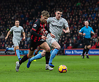 West Ham United's Declan Rice (right) vies for possession with \Bournemouth's David Brooks (left) <br /> <br /> Photographer David Horton/CameraSport<br /> <br /> The Premier League - Bournemouth v West Ham United - Saturday 19 January 2019 - Vitality Stadium - Bournemouth<br /> <br /> World Copyright © 2019 CameraSport. All rights reserved. 43 Linden Ave. Countesthorpe. Leicester. England. LE8 5PG - Tel: +44 (0) 116 277 4147 - admin@camerasport.com - www.camerasport.com