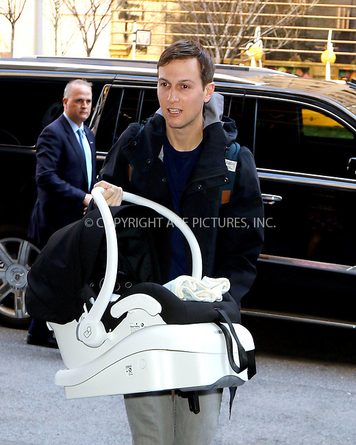 WWW.ACEPIXS.COM<br /> <br /> March 29 2016, New York City<br /> <br /> Ivanka Trump arrives at her Upper East Side home with her husband Jared Kushner and her new baby boy Theodore James Kushner on March 29 2016 in New York City<br /> <br /> By Line: Zelig Shaul/ACE Pictures<br /> <br /> <br /> ACE Pictures, Inc.<br /> tel: 646 769 0430<br /> Email: info@acepixs.com<br /> www.acepixs.com