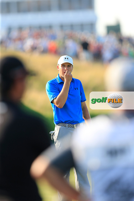 Jordan Spieth (USA) misses his putt on the 17th green during Sunday's Final Round of the 97th US PGA Championship 2015 held at Whistling Straits, Mosel, Kohler, Wisconsin, United States of America. 16/08/2015.<br /> Picture Eoin Clarke, www.golffile.ie