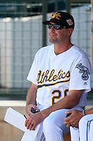 Mesa Solar Sox manager Ryan Christenson (20), of the Oakland Athletics organization, during a game against the Scottsdale Scorpions on October 21, 2016 at Sloan Park in Mesa, Arizona.  Mesa defeated Scottsdale 4-3.  (Mike Janes/Four Seam Images)