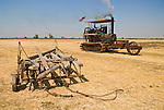 Annual ACMOC Caterpillar Tractor show at the Best Ranch near Woodland, CA..Don Hunter's Holt No. 111 replica 1906 steam-powered crawler tractor