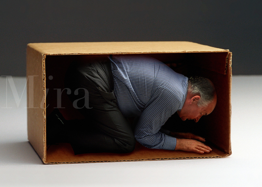 Businessman in a cardboard box