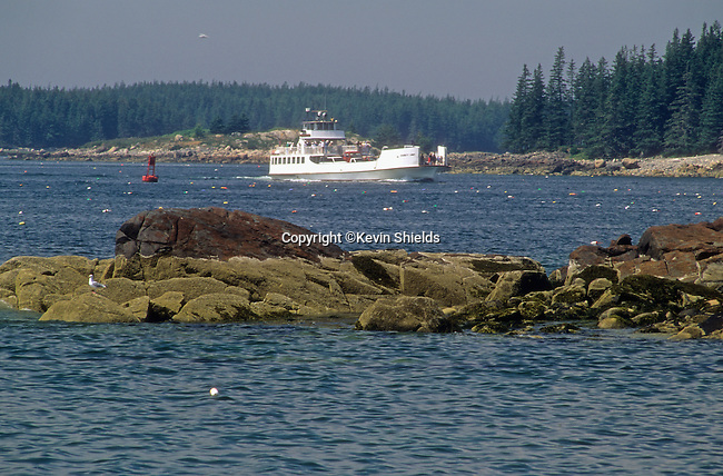 State ferry running between Rockland and Vinalhaven, Maine, USA