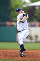 Montgomery Biscuits pitcher Matt Lollis (46) delivers a pitch during a game against the Mississippi Braves on April 22, 2014 at Riverwalk Stadium in Montgomery, Alabama.  Mississippi defeated Montgomery 6-2.  (Mike Janes/Four Seam Images)