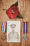 photograph of a second world war soldier with covered with medals and red petals