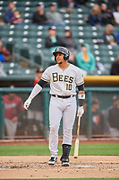 Jose Briceno (10) of the Salt Lake Bees bats against the Sacramento River Cats at Smith's Ballpark on April 19, 2018 in Salt Lake City, Utah. Salt Lake defeated Sacramento 10-7. (Stephen Smith/Four Seam Images)