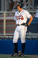 Jon Gilmore (19) of the Danville Braves waits in the on deck circle for his turn to bat at Dan Daniels Park in Danville, VA, Saturday, August 23, 2008. (Photo by Brian Westerholt / Four Seam Images)