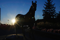 A statue of Northern Dancer stands at the entrance to Woodbine Race Course in Ontario, Canada on September 15, 2012.