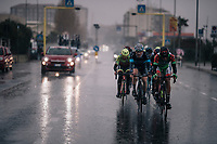 yet another straighforward downpour hits the breakaway group on their way to the finale<br /> <br /> 109th Milano-Sanremo 2018<br /> Milano &gt; Sanremo (291km)