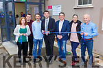 Minister Brendan Griffin cuts the tape to offically open the Keel Community hall reopening on Sunday l-r: Tricia Deane, Tommy Griffin, John Byrne, Minister Griffin, Gerard Dowd Chairman, Judy Pheysey, and Liam Sugrue Farnes Construction
