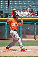Alex Presley (25) of the Fresno Grizzlies at bat against the Salt Lake Bees in Pacific Coast League action at Smith's Ballpark on June 14, 2015 in Salt Lake City, Utah.  (Stephen Smith/Four Seam Images)