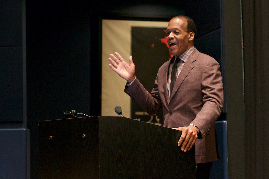 President Lee Pelton at the Emerson Film Festival. President Pelton annouced a new scholarship awarded by alumni.