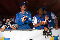 20 August 2010: Matt Lapinski, Eloi Secleppe, Gary Garcia Martinez, Andy Pitcher, are seen in the dugout during France 6-5 win over Italy, at the 2010 European Championship, under 21, in Brno, Czech Republic.
