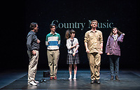 Starring: Chris Wilbur '21; Abby Howell '21; Carey Cannata '21; Milan Khali '19. Photo from the dress rehearsal of the Occidental College Department of Theater presentation of Country Music, written by Simon Stephens and directed by John Bouchard, Nov. 29, 2017 in Keck Theater. The action takes place in Thurrock, Essex; Her Majesty's Prison, Grendon, Buckinghamshire; and Durham Road, Sunderland, between 1983 and 2004.<br />