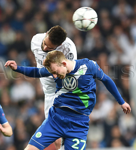 12.04.2016. Madrid, Spain.  Wolfsburg's Maximilian Arnold in action against Sergio Ramos of Madrid during the UEFA Champions League quarterfinal second leg  match between Real Madrid and VfL Wolfsburg at the Santiago Bernabeu stadium in Madrid, Spain
