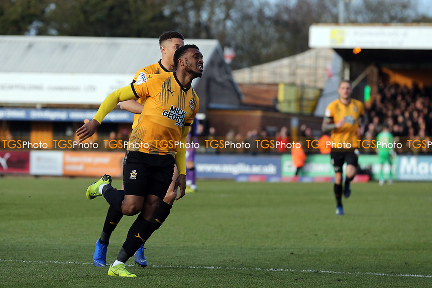 David Amoo of Cambridge United celebrates scoring the first goal during Cambridge United vs Port Vale, Sky Bet EFL League 2 Football at the Cambs Glass Stadium on 9th February 2019