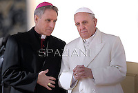 Pope Francis  Monsignor Georg Gänswein during his weekly general audience in St. Peter square at the Vatican, Wednesday. Febraury 12, 2014