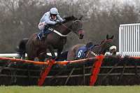 Race winner Miss Ballantyne ridden by Barry Geraghty in jumping action in the racinguk.com Mares Novices Hurdle