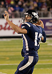 November 12, 2011:Nevada Wolf Pack quaterback Cody Fajardo throws a 5 yard touchdown pass in the 4th quater during a WAC league game vs Hawaii played at Mackay Stadium in Reno, Nevada.