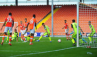 Blackpool's Brad Potts sees his shot saved by Exeter City's Bobby Olejnik<br /> <br /> Photographer Kevin Barnes/CameraSport<br /> <br /> Football - The EFL Sky Bet League Two - Blackpool v Exeter City - Saturday 6th August 2016 - Bloomfield Road - Blackpool<br /> <br /> World Copyright &copy; 2016 CameraSport. All rights reserved. 43 Linden Ave. Countesthorpe. Leicester. England. LE8 5PG - Tel: +44 (0) 116 277 4147 - admin@camerasport.com - www.camerasport.com