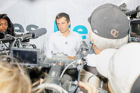 Democratic presidential candidate and South Bend, Ind., mayor Pete Buttigieg speaks to the media after speaking at the Political Soapbox at the Iowa State Fair in Des Moines, Iowa, on Tue., August 13, 2019.