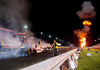 Aug 30, 2019; Clermont, IN, USA; Fire from pyrotechnics go off as NHRA top fuel driver Steve Torrence during qualifying for the US Nationals at Lucas Oil Raceway. Mandatory Credit: Mark J. Rebilas-USA TODAY Sports