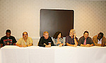 Brian Tyler, Apache Ramos, Thomas G. Waite, Deborah Van Valkenburgh, Michael Beck, Terry Michos, Dorsey Wright - The Warriors - 30 years reunion during Q & A at the Super Megashow & Comic Fest on August 30, 2009 in Secaucus, New Jersey (Photo by Sue Coflin/Max Photos)