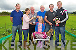 WINNER: Turning Pace the winning dog of the John Herbert memorial All Age Bitch Stake sponsored by Herbert's Bar,Kilflynn on Sunday at Kilflynn Coursing, l-r: Mark Ryall, Rachel Lyons (owner), Charlie Ryall, Ava Lyons, Pat Herbert, Paudie Lyons (nominator) and Shane Herbert (Sponsor).