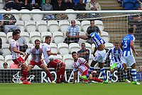 Mikael Mandron of Colchester United scores the first goal for his team and celebrates during Colchester United vs Stevenage, Sky Bet EFL League 2 Football at the Weston Homes Community Stadium on 12th August 2017