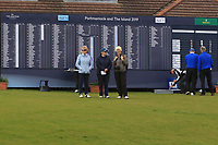 The scoreboard at the 1st during Round 1 of the The Amateur Championship 2019 at The Island Golf Club, Co. Dublin on Monday 17th June 2019.<br /> Picture:  Thos Caffrey / Golffile<br /> <br /> All photo usage must carry mandatory copyright credit (© Golffile | Thos Caffrey)