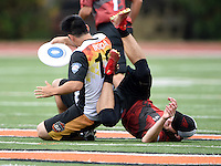 May 24, 2015; Los Angeles, CA, USA; San Francisco Flamethrowers  handler Casey Ikeda (18) collides with Los Angeles Aviators offensive handler Grant Boyd (91)  in an American Ultimate Disc League (AUDL) match at Occidental College. The Aviators defeated the Flamethrowers 23-22. Photo by Kirby Lee