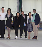 All Children's Rebecca Budig and Douglas Webster (artistic director) are hosts and also skated pose with competetors Jonathan Hunt and her partner actress Sean Young, Moira North (founder/director) at Ice Theatre of New York's Celeb Skate 2013 on June 9, 2013 at the Sky Rink at Chelsea Piers, New York City, New York. (Photo by Sue Coflin/Max Photos)