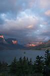 Wild Goose Island on St. Mary Lake in Glacier NP during sunrise