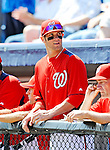 2 March 2011: Washington Nationals outfielder Bryce Harper looks out from the dugout prior to a Spring Training game against the Florida Marlins at Space Coast Stadium in Viera, Florida. The Nationals defeated the Marlins 8-4 in Grapefruit League action. Mandatory Credit: Ed Wolfstein Photo