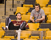 Brian Dumoulin (BC - 2), Pat Mullane (BC - 11) - The Boston College Eagles defeated the Providence College Friars 4-2 in their Hockey East semi-final on Friday, March 16, 2012, at TD Garden in Boston, Massachusetts.