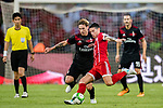 Bayern Munich Midfielder James Rodríguez (R) fights for the ball with AC Milan Defender Lucas Biglia (L) during the 2017 International Champions Cup China  match between FC Bayern and AC Milan at Universiade Sports Centre Stadium on July 22, 2017 in Shenzhen, China. Photo by Marcio Rodrigo Machado / Power Sport Images