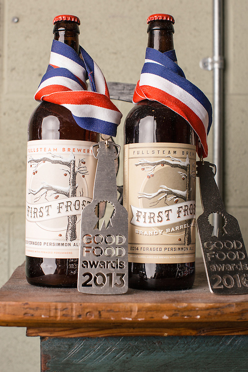 Durham, North Carolina - Tuesday March 29, 2016 - Fullsteam Brewery's First Frost and First Frost Brandy Barrel-Aged are both Good Food award winners.
