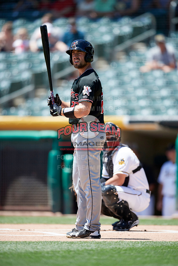 Tom Murphy (23) of the Albuquerque Isotopes bats against the Salt Lake Bees in Pacific Coast League action at Smith's Ballpark on June 11, 2017 in Salt Lake City, Utah. The Bees defeated the Isotopes 6-5. (Stephen Smith/Four Seam Images)