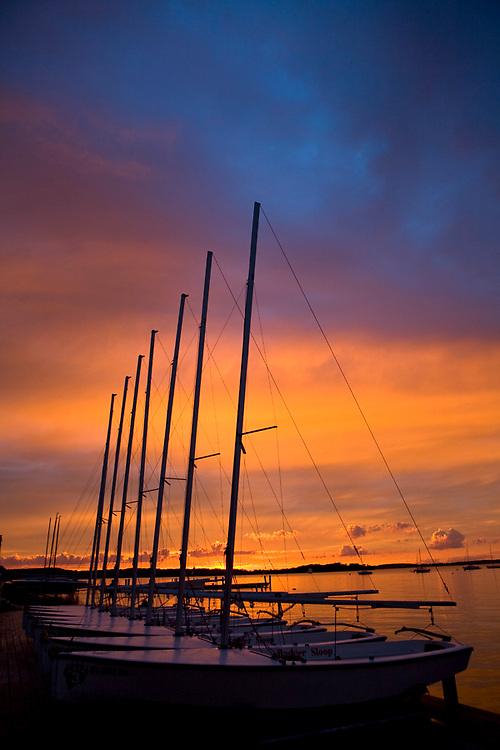 Sunset over Lake Mendota, from the University of Wisconsin, Madison's famed terrace.