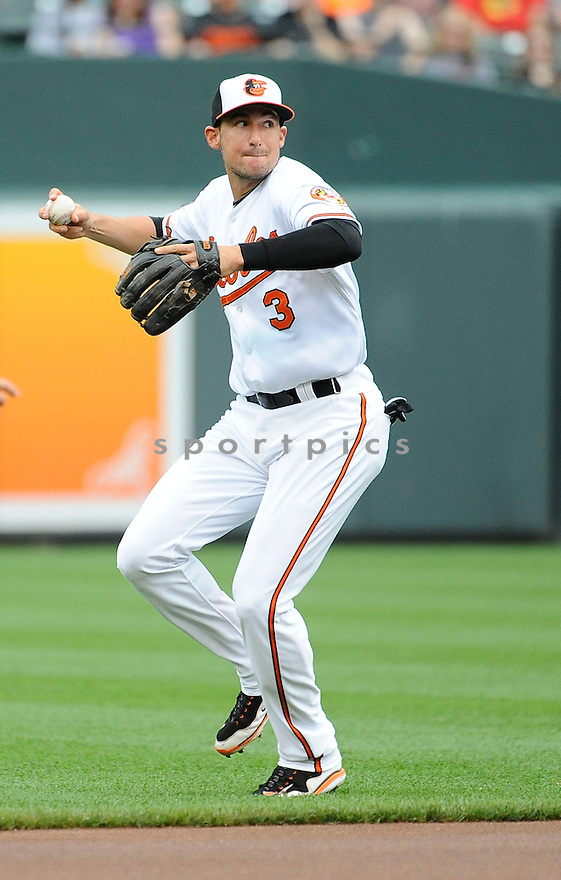 Baltimore Orioles Ryan Flaherty (3)  during a game against the Detroit Tigers on June 2, 2013 at Oriole Park in Baltimore, MD. The Orioles beat the Tigers 4-2.