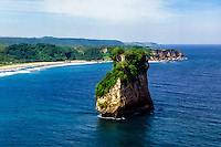 West Nusa Tenggara, Sumbawa. The rock. Characteristic rock formations on the south coast of Sumbawa (from helicopter).